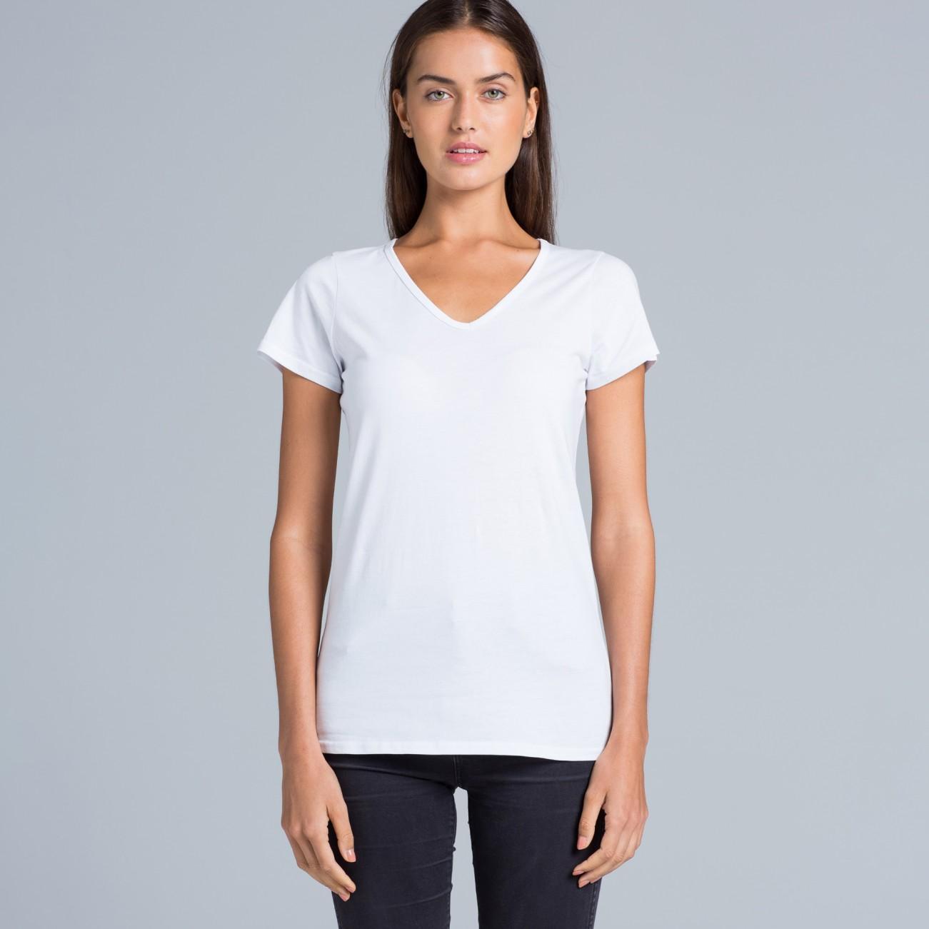 Womens bevel v neck tee cotton blend t shirts the for V neck shirt for women